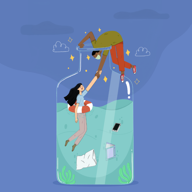 Illustration of a woman being saved from drowning in a bottle filled with water by a man in a mask.