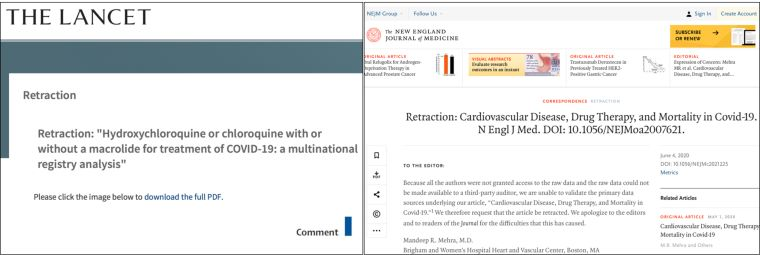 Composite image of The Lancet and NEJM articles