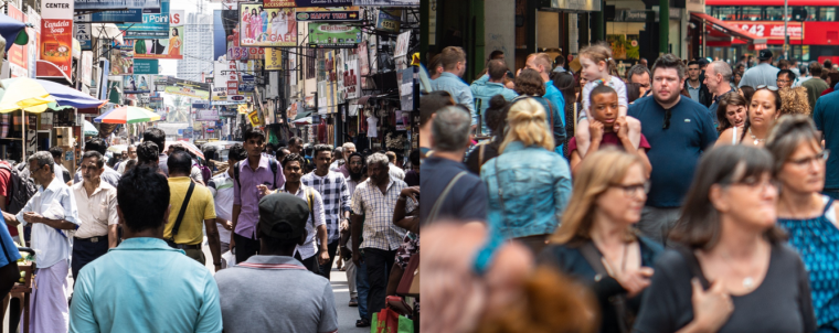 Busy street of peoples in Sri Lanka (Colombo - photo on left) and UK (London - photo on right).