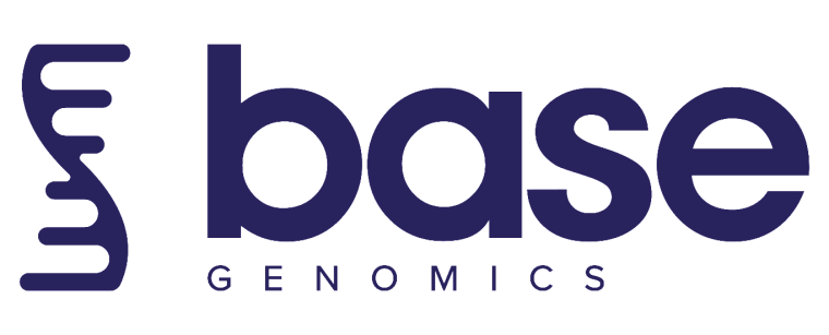 Logo for base genomics in blue with white background