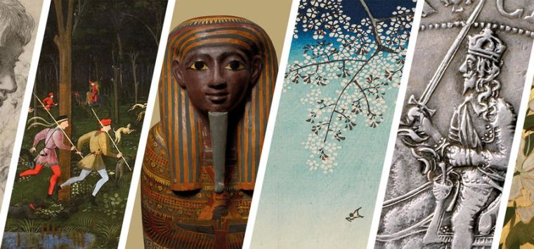 Image shows a collage of various artefacts exhibited in museums.