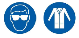 Icon showing safety glasses on left, icon showing lab coat on right