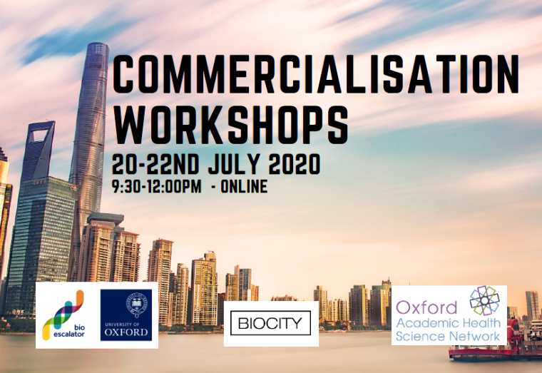 Cityscape with the words 'commercialisation workshops,  July 20-22nd'