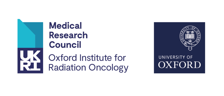 This is the logo for the Medical Research Council - Oxford Institute for Radiation Oncology, which incorporates the design elements of the UK Research & Innovation logo. The logo is also accompanied by the traditional University of Oxford blue quadrangle logo set with the Oxford Blue pantone.