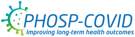 """PHOSP-COVID logo, with the slogan """"Improving long-term health outcomes' written underneath."""