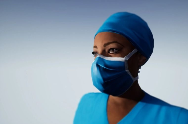 Nurse wearing a face mask