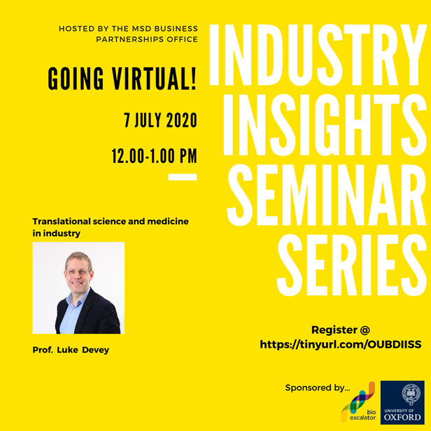 Flyer for the industry insights seminar on July 7th 2020 with visiting professor Luke Devey