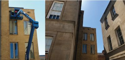 Three swift bird boxes being installed on the Radcliffe Primary Care building, providing much needed nest sites.