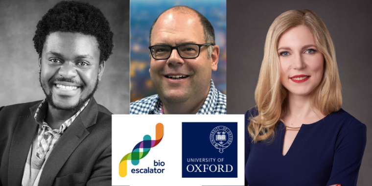 Headshots left to right of Danuta Jeziorska - CEO of Nucleome,  Alex Leech - CEO of Alchemab and Atherton Mutombwera - CEO of Hutano Diagnostics with BioEscalator logo underneath.