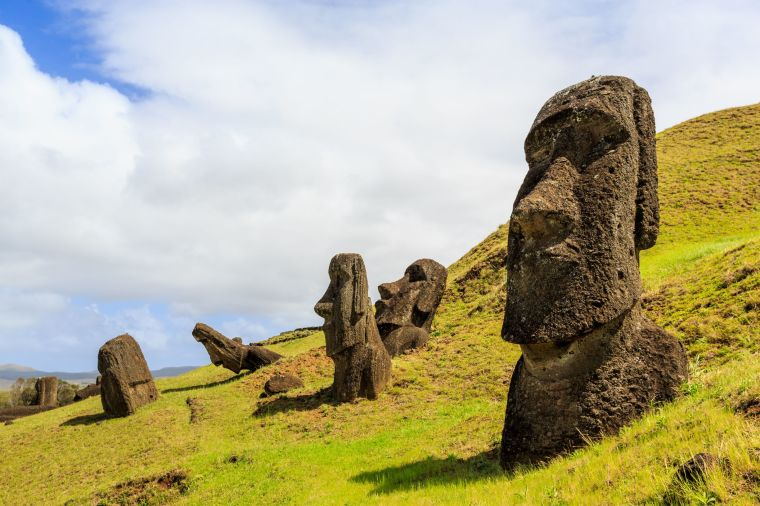 Moai statues in the Rano Raraku Volcano in Easter Island, Rapa Nui National Park in Chile