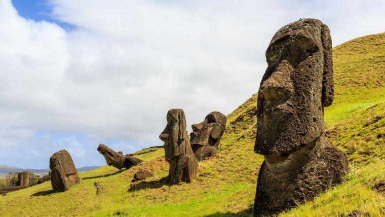 Moai statues in the Rano Raraku Volcano in Easter Island, Rapa Nui National Park in Chile