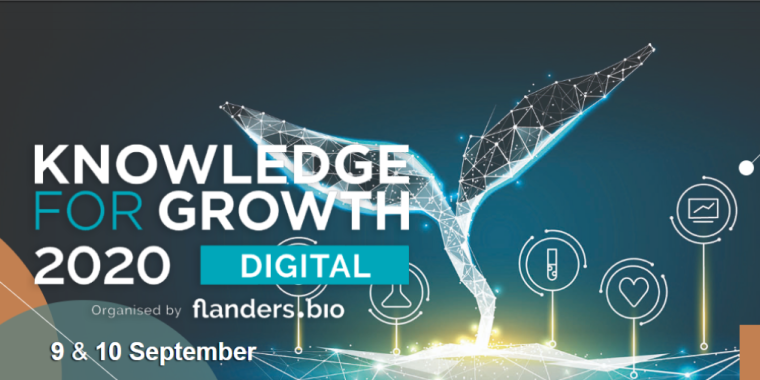 This is an image advertising the digital event, Knowledge for growth 2020, organised by flanders.bio.
