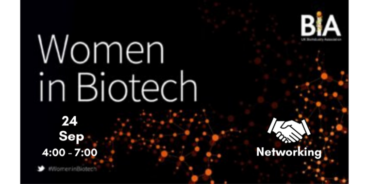 This is an image advertising an event titled Women in Biotech, organised by BIA.