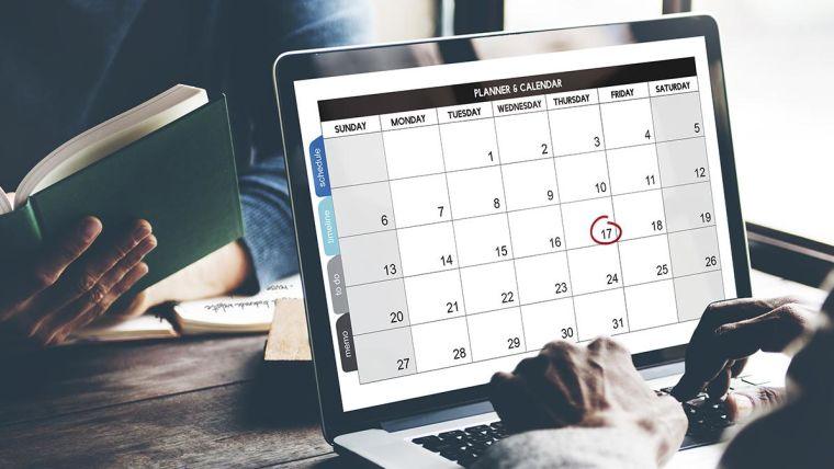 Calendar on a computer screen