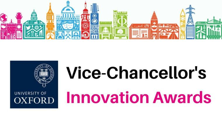 Trudie Lang and the Vice-Chancellor's Innovation Awards logo