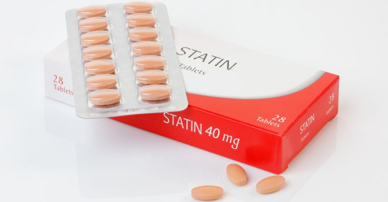 Packet of statins and blister pack of statin tablets
