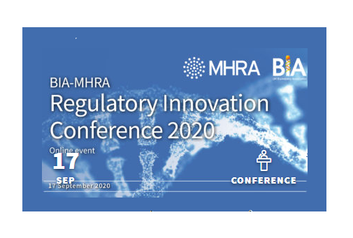 Flyer for BIA-MHRA regulatory conference online 17th September 2020