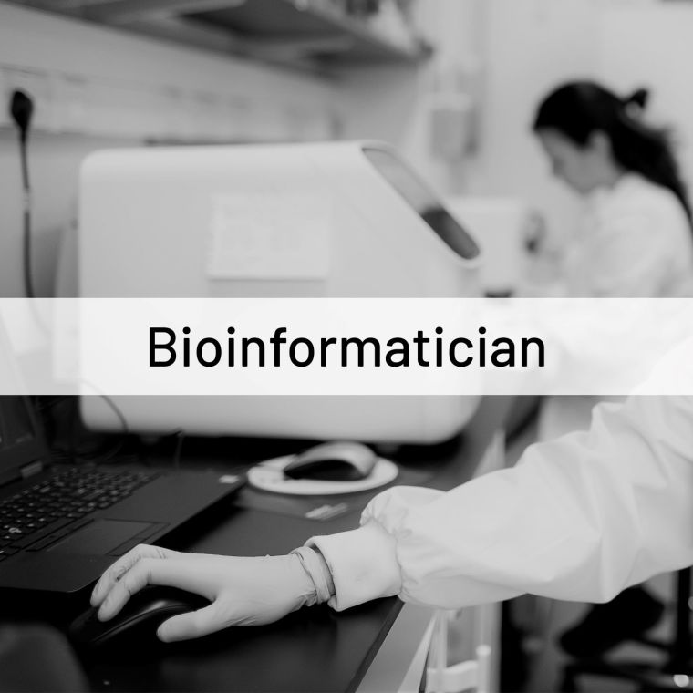 image of people working in a lab overlaid with the word 'bioinformatician'