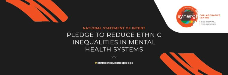 """Image shows pledge from Syergi saying """"Pledge to reduce ethnic inequalities in mental health systems'."""