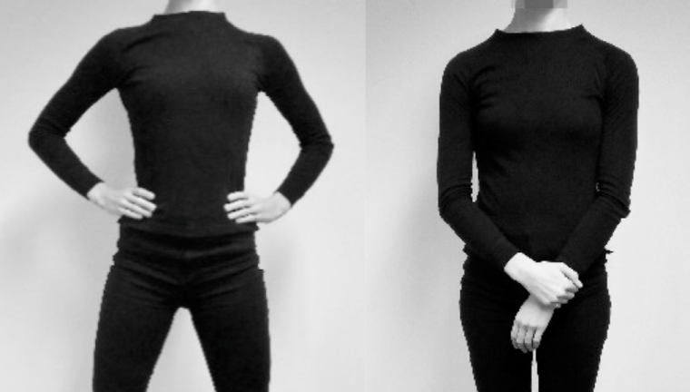 Split image with the person standing in a power pose on the left and a neutral pose on the right.
