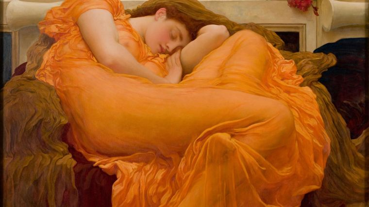 """Flaming June"" painting depicts an image of a painting with a woman sleeping."
