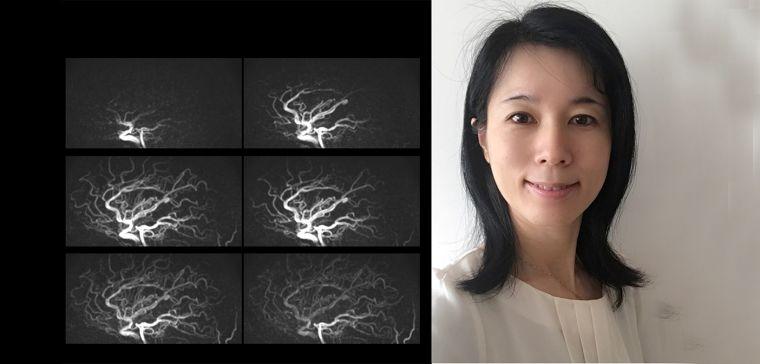 Yuriko Suzuki next to some images from her work