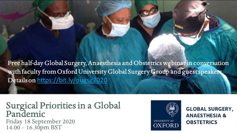 OUGSG 2020 banner,  medical team performing surgical operation