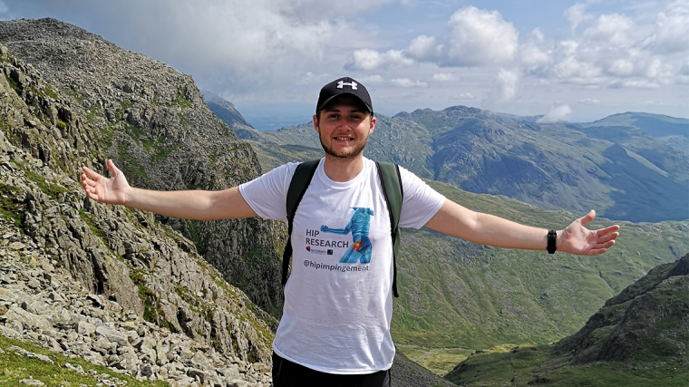 Nick reaches the peak of Scafell Pike raising money for hip research