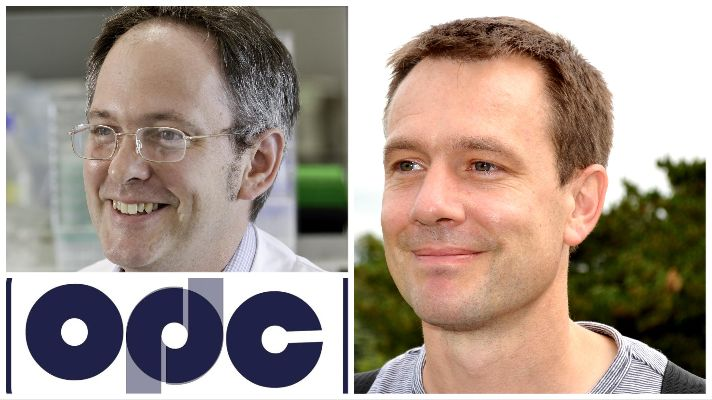 The OPDC logo featured with prominent OPDC researchers Prof Caleb Webber and Prof Richard Wade-Martins