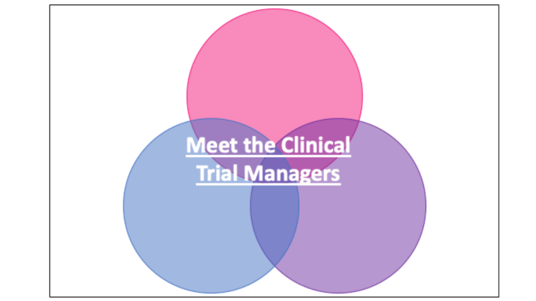 Three circles with the words 'Meet the Clinical Trials Managers' on top