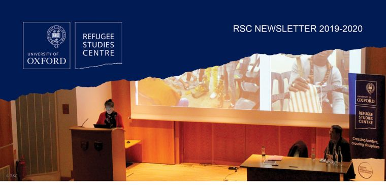 Cover of the RSC Annual Newsletter 2019-2020, featuring Dame Marina Warner giving the Annual Harrell-Bond Lecture 2019