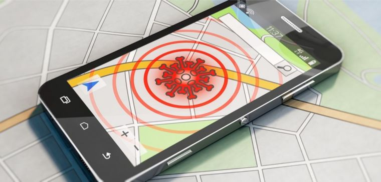 Illustration of contact tracing app on top of a street map