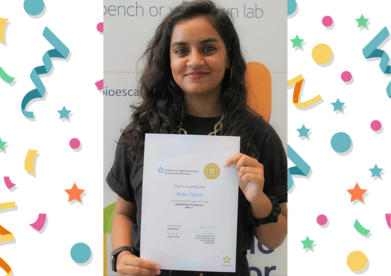 Our apprentice lab technician, Bushra Nawaz holding her distinction certificate.