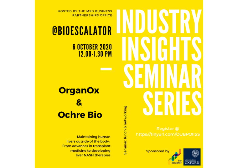 This image is advertising the October 2020 Industry Insights Seminar Series