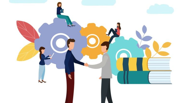 Illustration depicting people networking