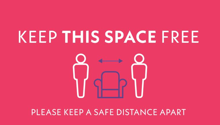 Keep the space of approx. 1 sofa (2m apart) free. Please keep a safe distance apart.