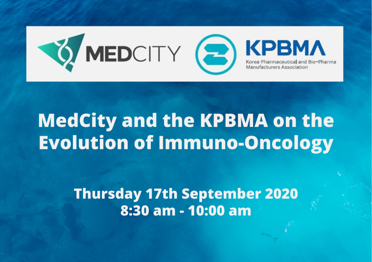 This image is advertising the MedCity and the KPBMA webinar on the Evolution of Immuno-Oncology, being held on Thursday 17th September 2020 from 8:00 am to 9:30 am