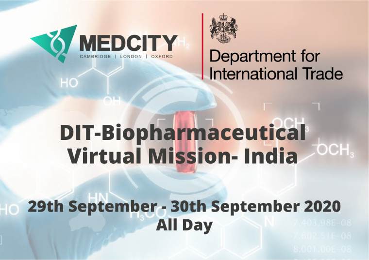 This image is advertising the DIT-Biopharmaceutical Virtual Mission- India webinar, being held from 29th September to the 30th September 2020