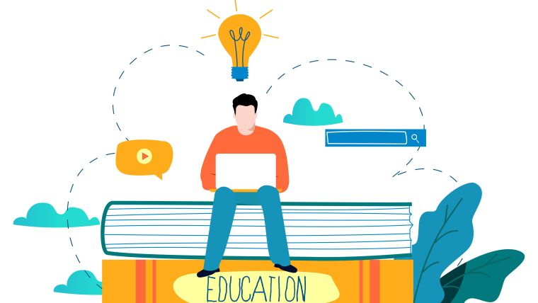 Illustration of a researcher sat on top of giant books with a lightbulb above their head