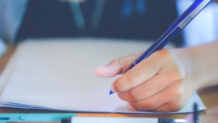 A young student sat at a desk - pencil in hand.