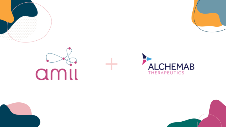 Logos of Alchemab therapeutics and Amii on white background