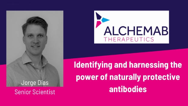 Image of Alchemab's senior scientist, Jorge Dias with Alchemab logo