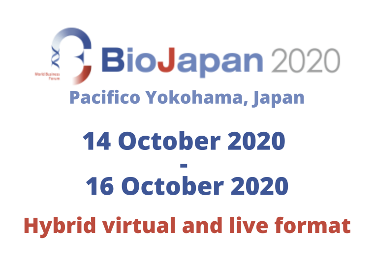 This image is advertising BioJapan 2020, taking place in Pacifico Yokohama, Japan, from the 14th October 2020 to the 16th October 2020, in a Hybrid virtual and live format.