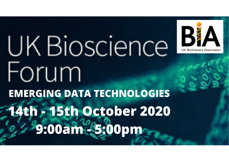 This image is advertising the UK BIOSCIENCE FORUM: EMERGING DATA TECHNOLOGIES, an online event organised by the BIA, taking place from the 14th October 2020 to the 15th October 2020