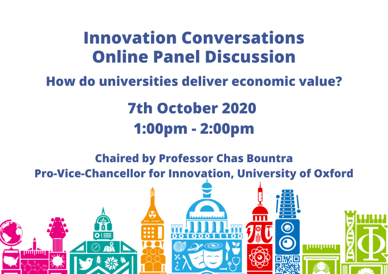 This image is advertising the Innovation Conversations Online Panel Discussion titled, How do universities deliver economic value?, being chaired by Professor Chas Bountra Pro-Vice-Chancellor for Innovation, University of Oxford, on 7th October 2020 from 1:00pm - 2:00pm.