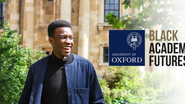 Smiling student with Oxford University Black Academic Futures logo