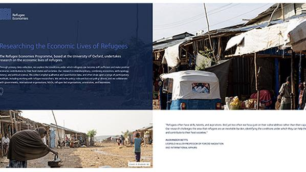 The new-look home page of the Refugee Economies Programme's website