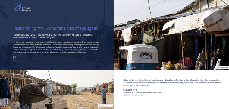 The new look home page of the Refugee Economies Programme's website