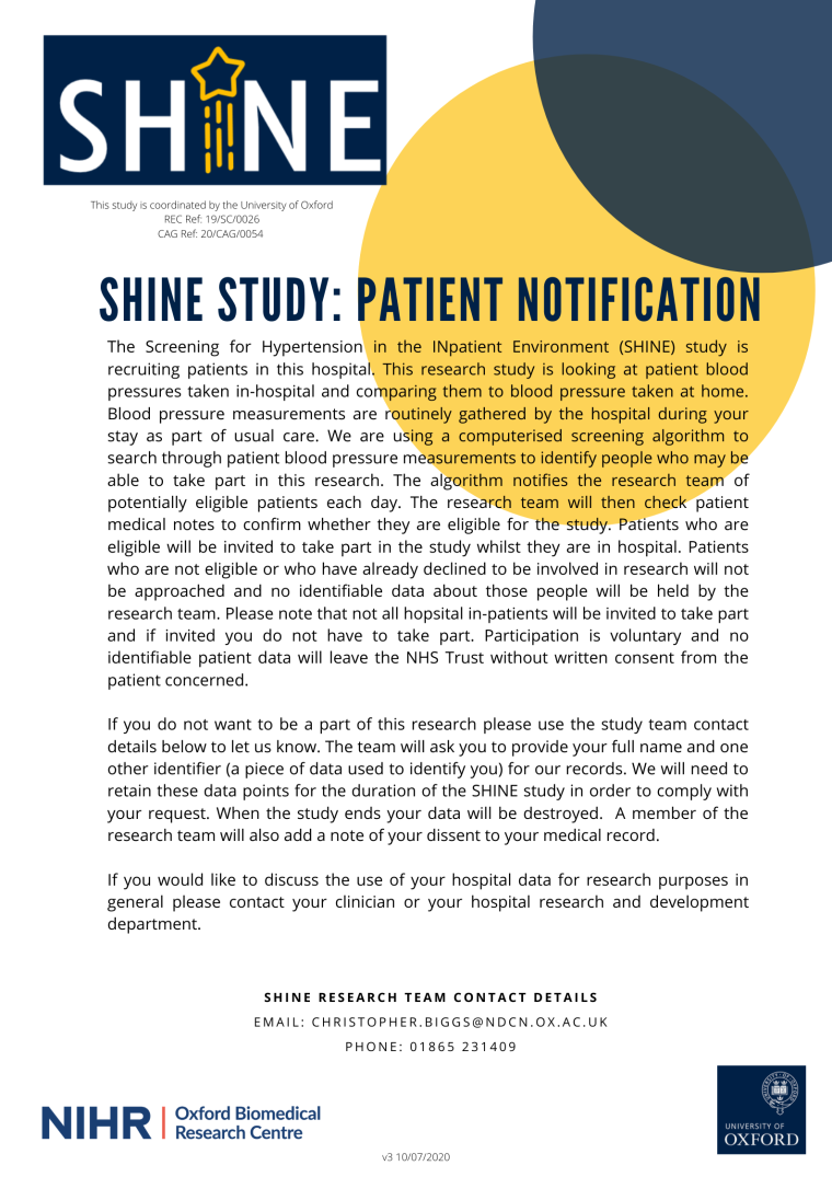SHINE Patient Notification Poster V3