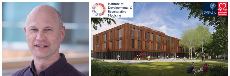 Headshot of Paul Riley and artist impression of the IDRM building depicting a relaxed environment with colleagues taking photos outside and sitting together on the grass.